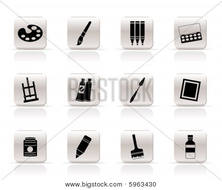 Simple painter, drawing and painting icons