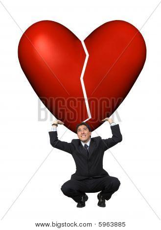 Man Lifting A Broken Heart