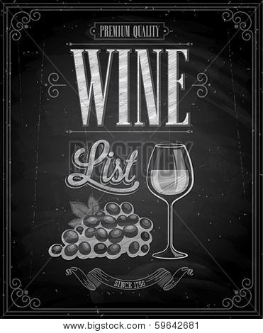 Vintage Wine List Poster  - Chalkboard. Vector illustration.