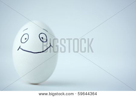 Easter egg with smile in isoation