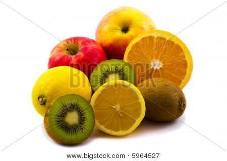 Heap of Fruits Isolated On White Background