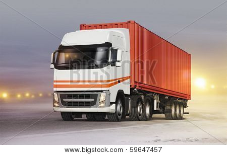 truck with cargo container on ice road in blizzard