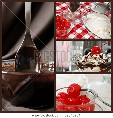 Hot fudge sundae collage.  Images include a nostalgic still life of a sundae in classic tulip dish with retro diner objects in background, bowl of hot fudge sauce with spoon, ice cream and cherries.