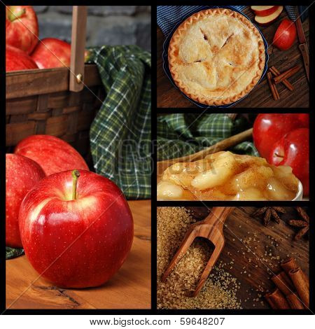 Apple pie collage includes images of fresh apples, cooked apples, sugar and spices, and a freshly baked homemade pie on rustic wood background.