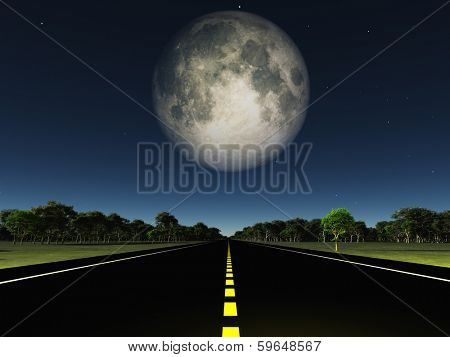 Empty road and moon