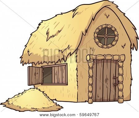 Cartoon Hay House. Vector clip art illustration with simple gradients. Hay house and hay mound on separate layers.