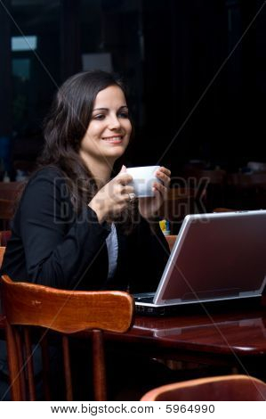 Businesswoman in cafe