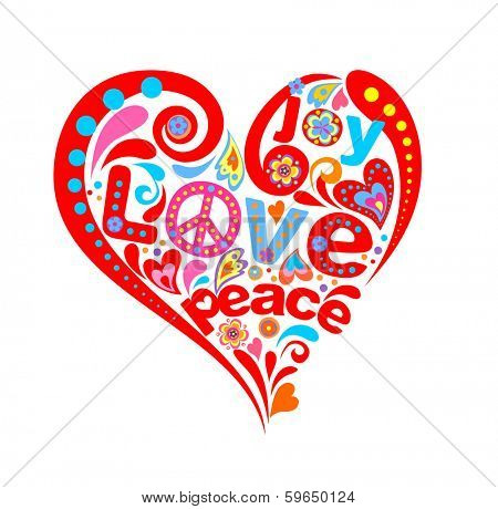 Hippie heart. Raster copy