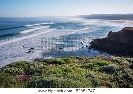 bordeira beach in South-West Alentejo and Costa Vicentina Natural Park, Portugal - early in the morning