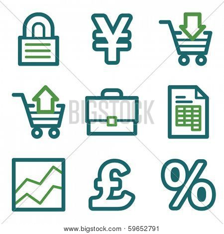 Business web icons, green line set