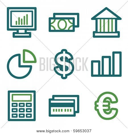 Finance web icons, green line set