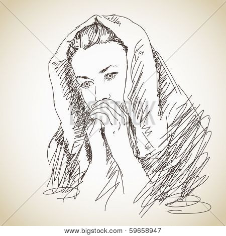 Sketch of praying young woman Vector