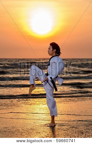 Martial Art Training At Sunset
