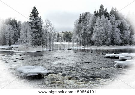 River in winter. Textured