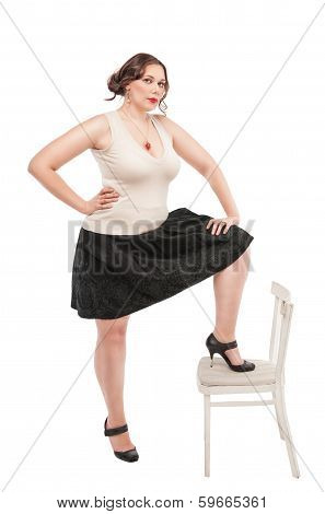 Beautiful Plus Size Woman With Chair