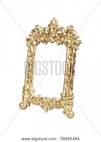 Gold vintage picture frame isolated on white with clipping path.