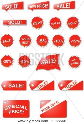 Stickers, labels and stars - sales signs