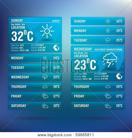 Weather widget app for mobile - vector illustration