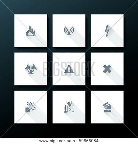 Hazard warning icon set - vector illustration