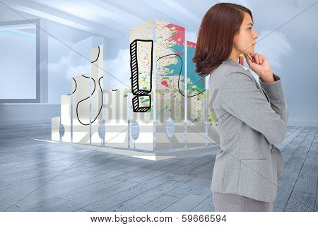 Concentrating businesswoman against room with holographic cloud