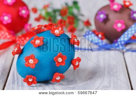 Easter Eggs With Bows And Flowers