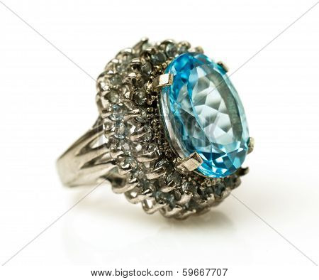 Silver Ring With Big Natural Topaz