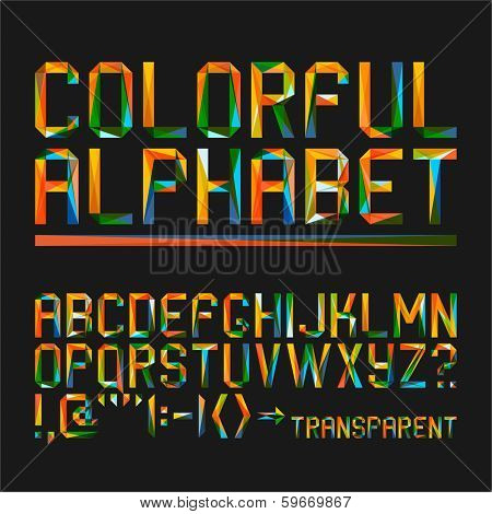 Colorful alphabet on a black background (10eps)