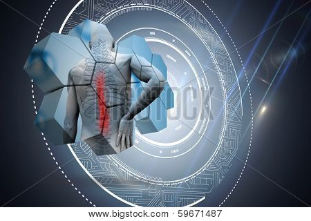 Back injury diagram on abstract screen against black background with glowing circle