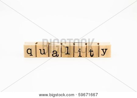 Quality Wording Isolate On White Background