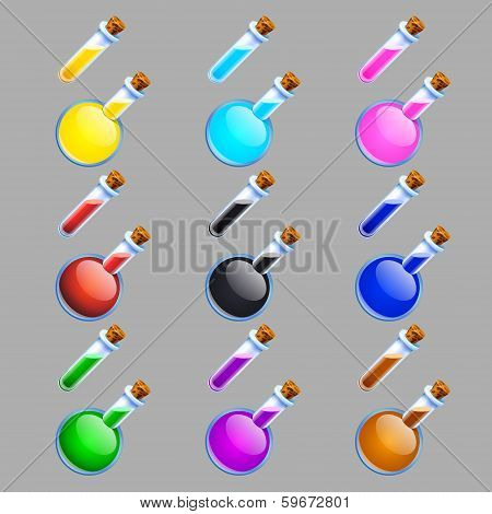 Colorful Laboratory Flasks And Tubes