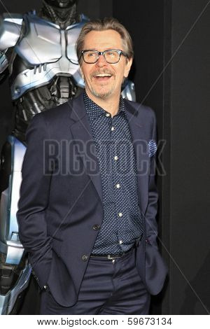 LOS ANGELES - FEB 10: Gary Oldman at the premiere of Columbia Pictures' 'Robocop' at TCL Chinese Theatre on February 10, 2014 in Los Angeles, California