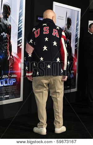 LOS ANGELES - FEB 10: A man is seen wearing a Ralph Lauren Team USA Olympic Uniform Sweater at the premiere of 'Robocop' at TCL Chinese Theatre on February 10, 2014 in Los Angeles, California