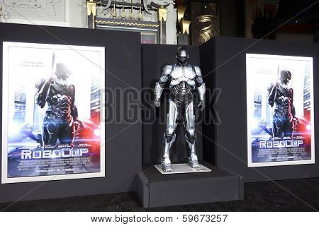 LOS ANGELES - FEB 10: Atmosphere, Poster, Statue at the premiere of Columbia Pictures' 'Robocop' at TCL Chinese Theatre on February 10, 2014 in Los Angeles, California