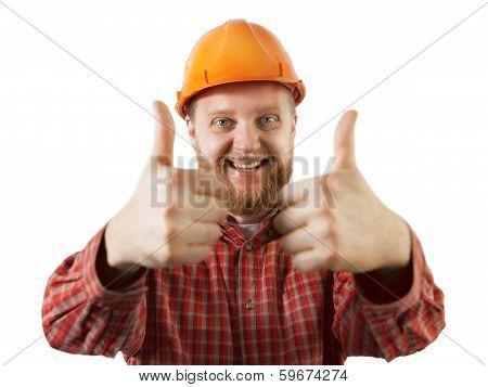 Cheerful Man In An Orange Construction Helmet