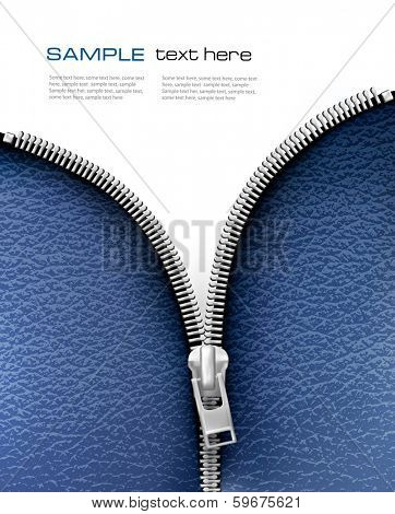 Business background with blue leather texture and open zipper. Vector illustration