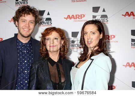 LOS ANGELES - FEB 10:  Jack Henry Robbins, Susan Sarandon, Eva Amurri Martino at the AARP