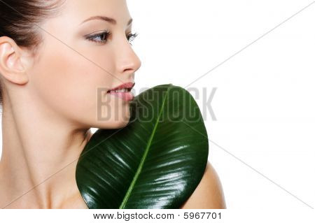 Profile Portrait Of Beautiful Nice Young Woman With Green Leaf