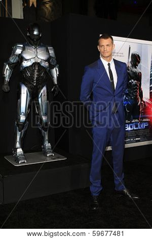 LOS ANGELES - FEB 10: Joel Kinnaman at the premiere of Columbia Pictures' 'Robocop' at TCL Chinese Theatre on February 10, 2014 in Los Angeles, California