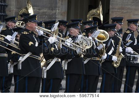 Military brass band.