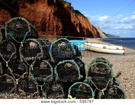 Crab Baskets At Sidmouth Beach