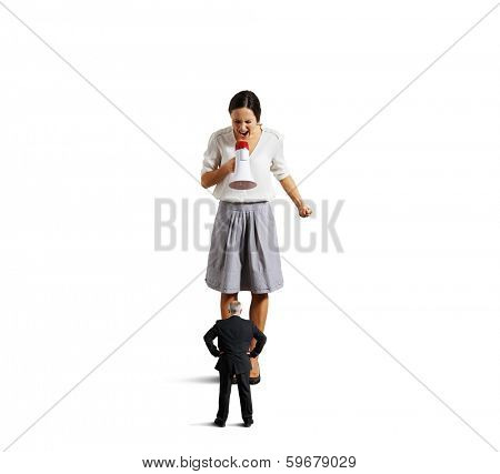 dissatisfied young businesswoman screaming at senior man. isolated on white background