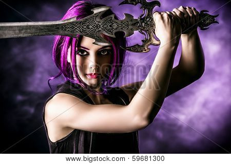 Beautiful girl warrior with a sword standing in fighting stance. Anime. Fantasy.