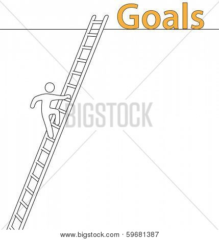 Person climbing upward on a ladder to achieve lofty goals with copy-space