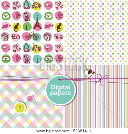 Seamless pattern - Paris Colorful cute seamless patterns