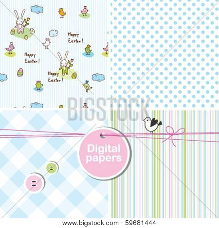 Easter background Colorful cute seamless patterns for Easter card, birthday, invitation