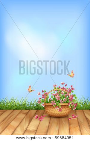 Vector summer flowers natural background