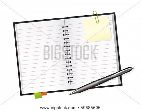 Scrapbook and Ballpoint Pen Vector Illustration. Open scrapbook with Markers, Sticky, Paper Clip and ballpoint Pen
