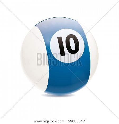 Detailed vector illustration of blue number 10 cue sports ball isolated on white