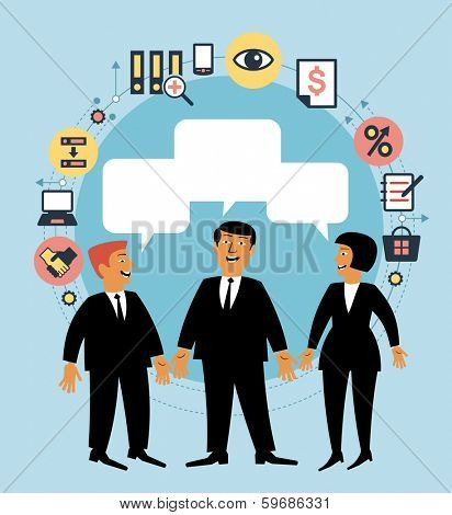 Cartoon team of people with dialog speech bubble and business icons. Concept of communication. Business concept