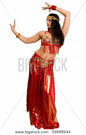 Girl In A Red Suit Oriental Dance